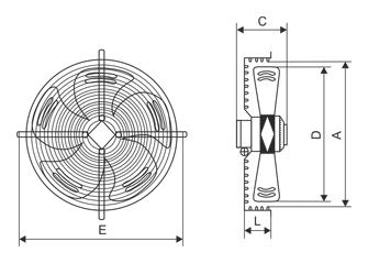 Чертеж и габаритные размеры осевых вентиляторов YWF (аналог вентиляторов серии ВО)