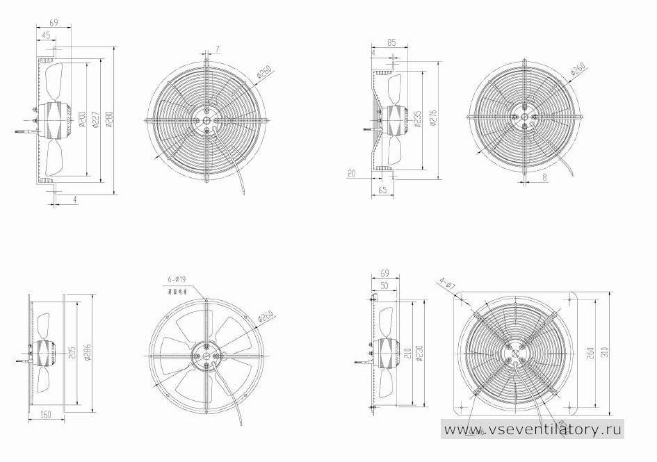 Вентилятор осевой Данли YWF.A2S-200S-5DIA06 с защитной решеткой, настенной квадратной панелью, круглым фланцем