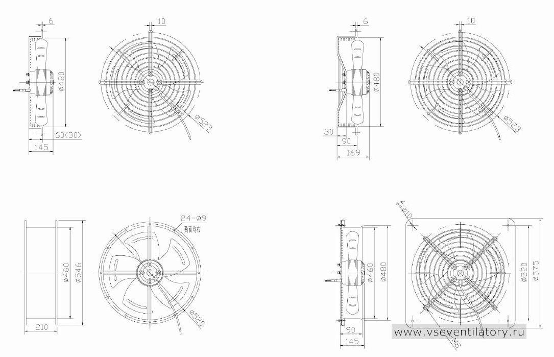 Вентилятор осевой Данли YWF.A2S-200S-5DIA42 с защитной решеткой, настенной квадратной панелью, круглым фланцем