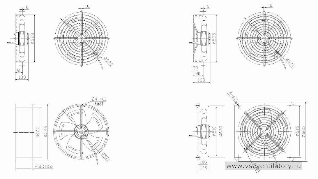 Вентилятор осевой Данли YWF.A2S-200S-5DIA53 с защитной решеткой, настенной квадратной панелью, круглым фланцем