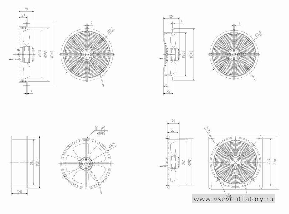 Вентилятор осевой Данли YWF.A2S-200S-5DIA07 с защитной решеткой, настенной квадратной панелью, круглым фланцем