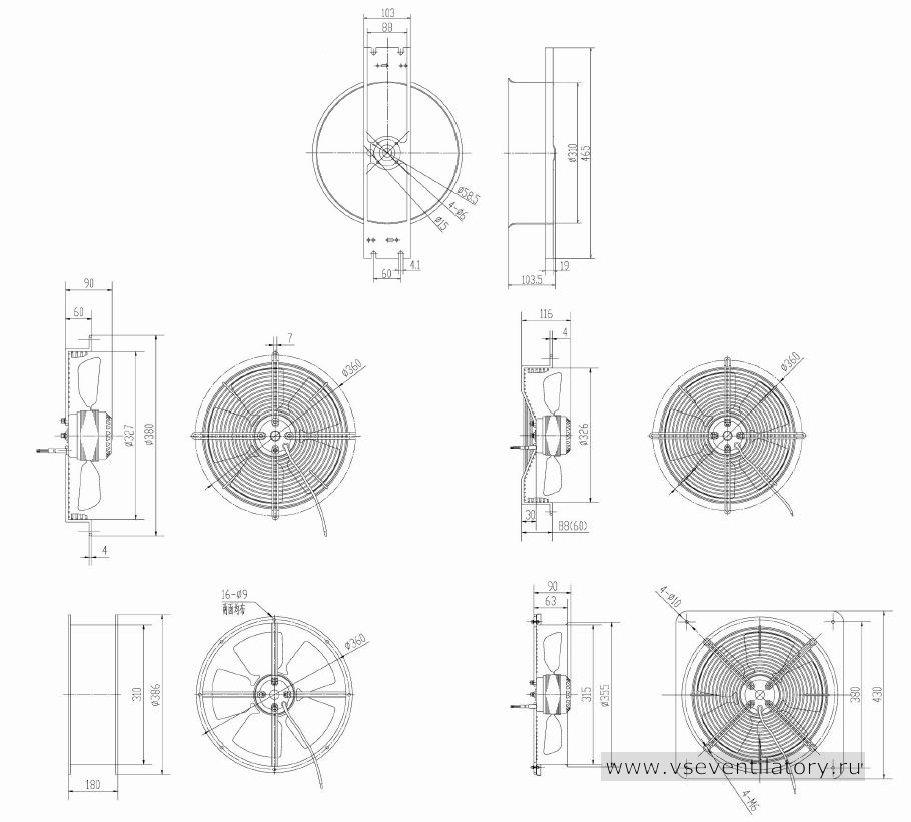 Вентилятор осевой Данли YWF.A2S-200S-5DIA14 с защитной решеткой, настенной квадратной панелью, круглым фланцем