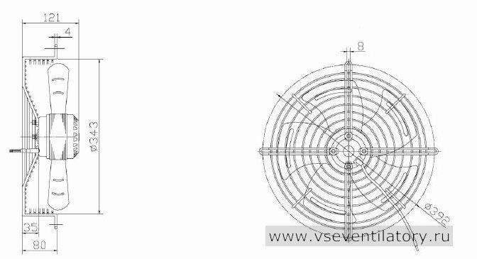 Вентилятор осевой Данли YWF.A2S-200S-5DIA16 с защитной решеткой, настенной квадратной панелью, круглым фланцем