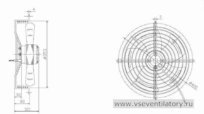 Вентилятор осевой Данли YWF.A2S-200S-5DIA19 с защитной решеткой, настенной квадратной панелью, круглым фланцем
