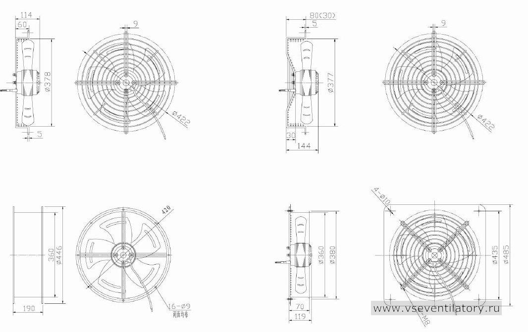 Вентилятор осевой Данли YWF.A2S-200S-5DIA21 с защитной решеткой, настенной квадратной панелью, круглым фланцем