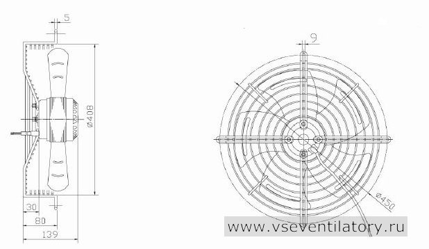 Вентилятор осевой Данли YWF.A2S-200S-5DIA30 с защитной решеткой, настенной квадратной панелью, круглым фланцем