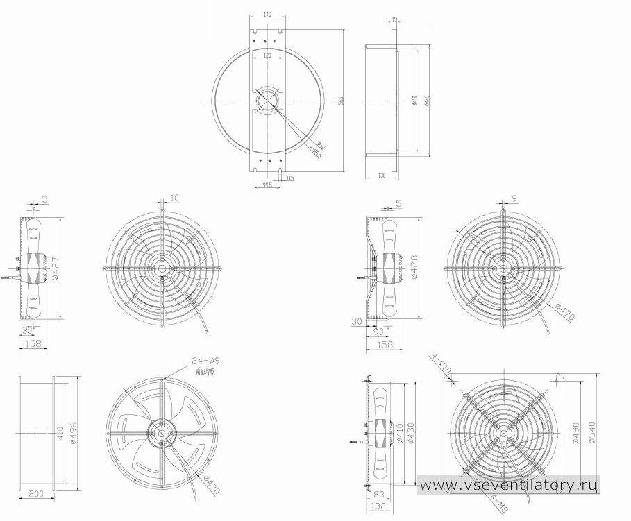 Вентилятор осевой Данли YWF.A2S-200S-5DIA34 с защитной решеткой, настенной квадратной панелью, круглым фланцем