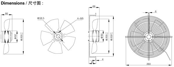 Диаметр крыльчатки, размер, установка, схема подключения вентилятора осевого Saiwei motor (Сайвэй) YWF-200